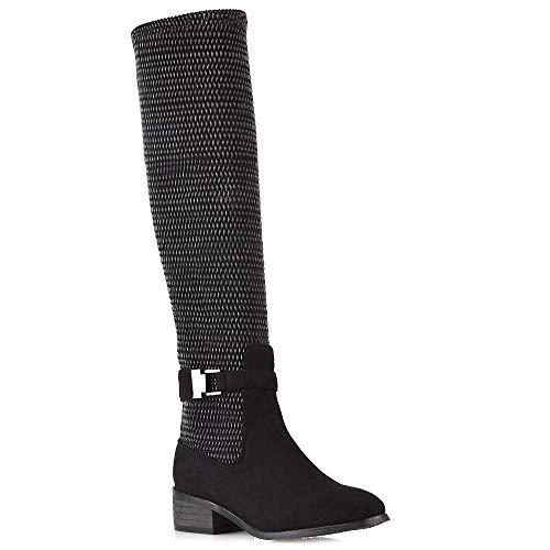 Essex glam stivale donna al ginocchio elasticizzato nero finto scamosciato zip-up cinturino caviglia suola rinforzata tacco a blocco basso eu 36