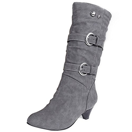 COOLCEPT Femmes Casual Slouch Bottes Talon Moyens Slip On Belt gray