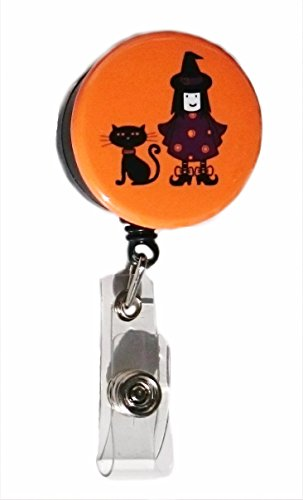 Süße Hexe & Katze Halloween Retractable Badge Reel ID Badge Holder