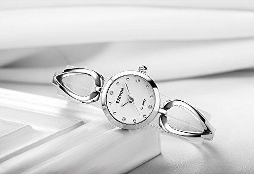 ETEVON Frauen Quarz Silber Armbanduhr mit Kleine Crystal Zifferblatt und Hohlen Armband Wasserdicht Lässig Einfache Verkleiden Armbanduhren für Damen - 3