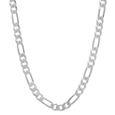 4.5mm Solid 925 Sterling Silver Figaro Link Italian Crafted Chain, 40 cm