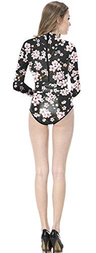 Thenice Damen Badeanzug Mehrfarbig schwarz onesize Pflaumenblüte
