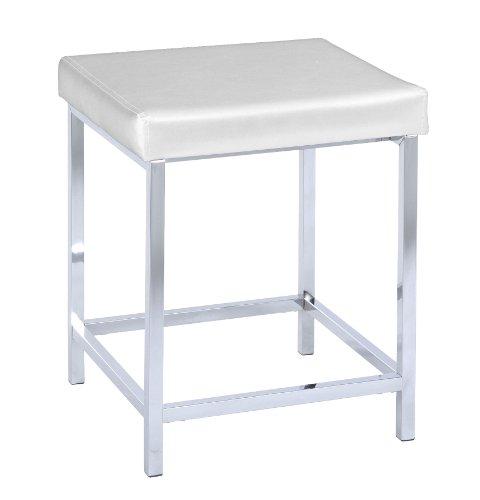WENKO 19943100 Hocker Deluxe Square White - Badhocker, gepolsterte Sitzfläche, Kunststoff, 40 x 47 x 40 cm, Weiß