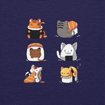NERDO - Cat Sushi - Damen T-Shirt Navy