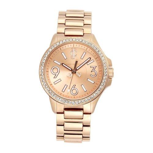 JUICY COUTURE 1900960 - Reloj analógico de cuarzo para mujer, correa de acero inoxidable chapado color oro rosa
