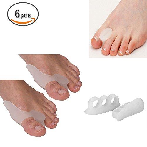 aptoco 6piezas Grupo Separador de dedos Kit. Silicona Toe Separador, separador de dedos de gel, difusores de dedos, gel Toe Separadores, hallux valgus Toe esparcidor