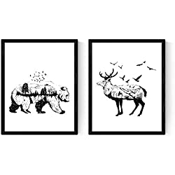 Set de Dos láminas para enmarcar, Blanco y Negro. Tamaño A3