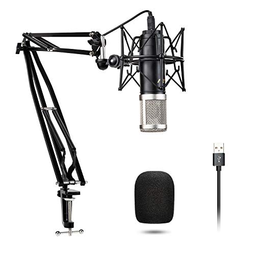 USB Mikrofon Kit Kondensatormikrofon VeGue028 192kHz / 24Bit Plug & Play mit professionellem Soundchip für Podcast, Spiel, YouTube, Aufnahme, PC Karaoke, Voice Over