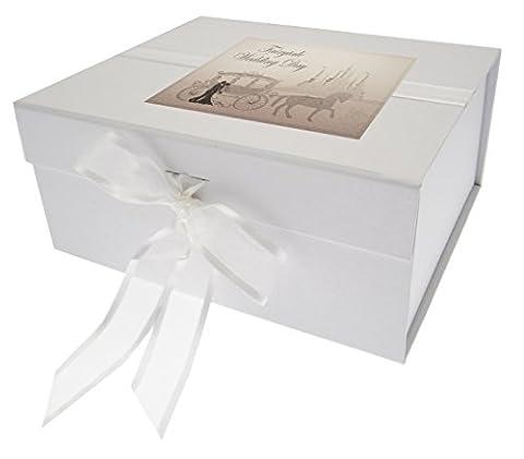 White Cotton Cards Boîte souvenir de mariage Motif conte de fée, bois, blanc, petit