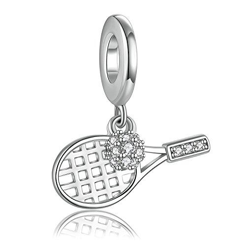 Forever Queen Tennis Ball Charm 925 Sterling Silber Tennisschläger Sport Baumeln Charm Anhänger für Halskette Charms Bead für Armband Frauen Zubehör FQ0011