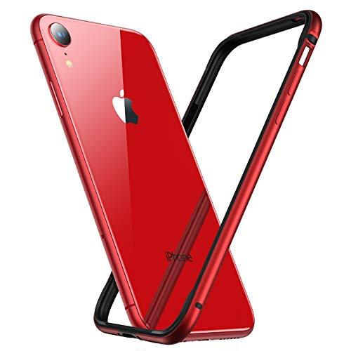 RANVOO Kompatibel mit iPhone XR Hülle, Bumper Case Aluminium Rahmen + Innen Gepolstert TPU Metall Bumper Handyhülle Schutzhülle, [Wärmeableitung] [für Handyspieler], 6,1'' 2018, Rot -
