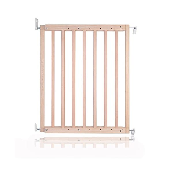 Safetots Chunky Wooden Screw Fit Stair Gate, Natural, 63.5 to 105.5 cm Safetots One handed operation Made up of two panels which are self expandable Fits a standard width: 63.5cm - 105.5cm 1