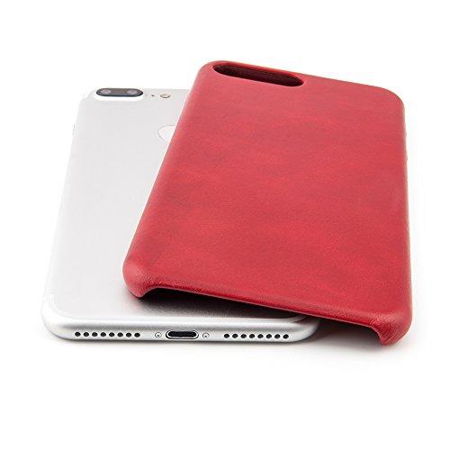 """Case für iPhone 8 Plus / 7 Plus (5,5"""") Thin Fit Hülle """"No.5 Leather"""" - Echt Leder Tasche für Apple iPhone 7 Plus / 8 Plus, Schutzhülle mit Soft Feel Coating in Schwarz von QUADOCTA® - Idealer Schutz f Orientrot"""