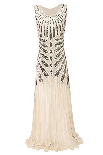 Metme Frauen wilden 1920er Jahre Paisley Chiffon Flapper Gatsby lange Kleid für (Renaissance Size Kostüme Damen Plus)