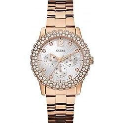 W0335L3 Guess Women's Quartz Analogue Watch-Silver Steel Strap Pink Dial