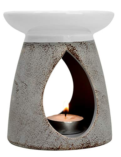 Großer, grauer Keramik-Ölbrenner, Höhe: 13cm.mit Geschenk-Box, keramik, grau, 13x11x11 cm -