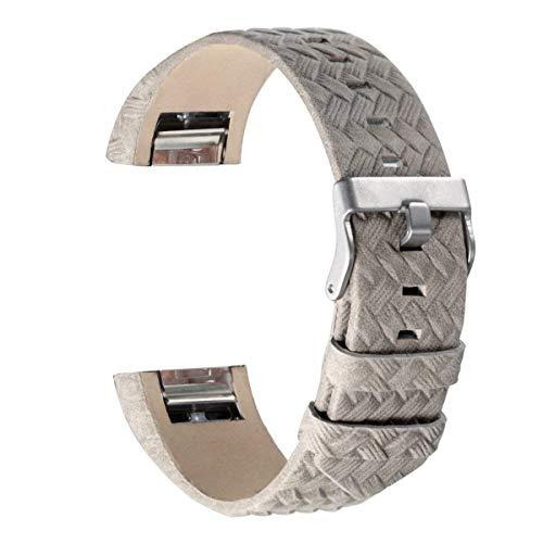Armband für Fitbit Charge 2, echtes Lederarmband Erstatzband für Fitbit Charge 2 Unisex Fitness Armband