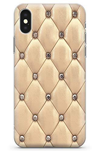 Case Warehouse iPhone XS MAX Designer Arbeiten Gold Beschlagene Leder Schutz Gummi Handyhülle TPU Bumper Süss Blau Stein Girls Modisch -