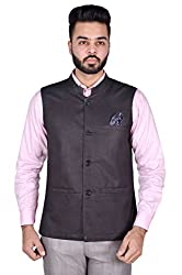 Wearza Mens Black Woven Cotton Blend Sleevless Nehru and Modi Jacket Ethnic Style For Party Wear.