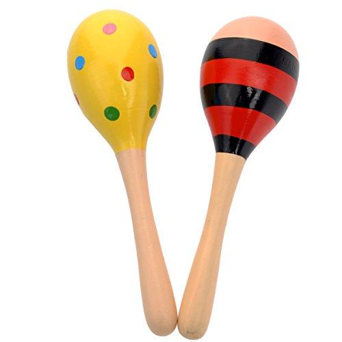 2Holz-Maraca mit Glocken mehrfarbig Musikalisches Spielzeug für Kinder