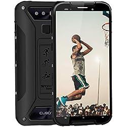 """CUBOT Quest Lite Smartphone 4G 5.0"""" Écran Dual SIM 3Go+32Go (128 Go Extensible ) Incassable Débloqué Android 9.0 IP68 Etanche Antichoc Mobile caméra 13+2 MP 3000mAh /Face ID/Empreinte Digitale- Noir"""