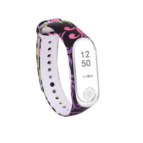 Allshopstock (#15) Gesichtssauna Masks Pattern Silikon Painting Wrist Gurt Watch Band für Kompatibel mit : Xiaomi mi Band 3