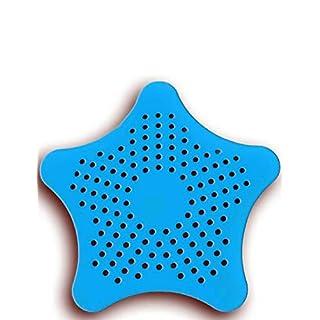 HomeTools.eu® - XXL großes Silikon Abfluss-Sieb mit Saugnäpfen | für Küche Spüle Bad Wanne Dusche gegen Haare, Krümel | 15 x 15cm, blau