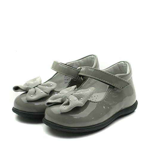 SB156 Studio BIMBI Girls Smart Dolly Shoe w/Bow in Grey Patent Taglia 25