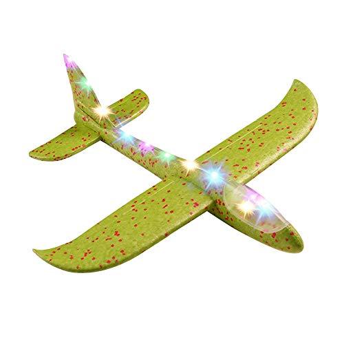 Ecisi 2pcs 19inch Flugzeug, großes werfendes Schaum-Flugzeug-Spielzeug mit Licht, manuelles Werfen, Spaß, fordernd, im Freiensportspielzeug, vorbildliches Schaum-Flugzeug, Geschenke für Kinder