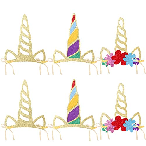 LUOEM Einhorn Horn Hüte Glitter Einhorn Horn Party Hüte Einhorn Stirnband Party Supplies Geburtstag Hut für Kinder und Erwachsene, Pack von 12 (Supplies Party Geburtstag Erwachsen)