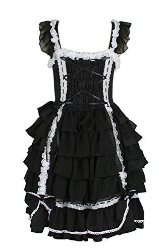 Nuoqi®Femmes douce sans manches Lolita Palais princesse dentelle robe kawaii Halloween maid cosplay costume CC220E