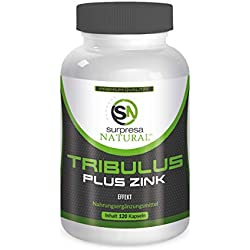 TRIBULUS PLUS ZINK | Tribulus Terrestris Extrakt | Muskelaufbau | 120 hochdosierte Kapseln | Premium Qualität aus Deutschland