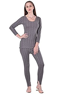 STC Lux Inferno Women's Cotton Thermal 3/4 Sleeves Long Top and Slim Lower (STC011_L, Grey, Large)
