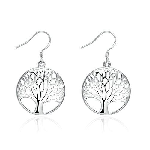 Gnzoe Gioielli Placcato Argento Tree of Life Orecchini Rotondo Dangle Hook Orecchini - 5 Ct Orecchini Di Diamanti