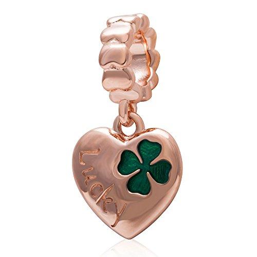 Hoobeads placcato in oro rosa con ciondolo a forma di quadrifoglio a cuore, autentico argento Sterling 925, con perle e ciondoli con smalto verde e Argento, colore: Dangle Charm, cod. HB
