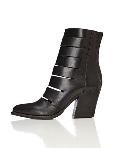 FIND Stiefeletten Damen mit Riemen und Reißverschluss, Schwarz (Black), 37 EU