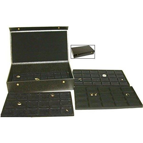 Findingking Halsketten 4 schwarz Ablagen Charm Display & Schmuck Travel Case Box