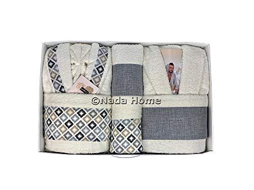 Completo bagno asciugamani accappatoi uomo donna set idea regalo corredo ferlen panna - grigio -