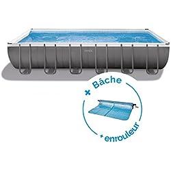 RAVIDAY Pack Piscine Tubulaire Intex Ultra XTR Frame 7.32 x 3.66 x 1.32 m + Bâche + Enrouleur