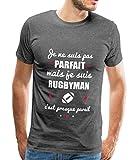 Je suis Pas Parfait Rugbyman T-Shirt Premium Homme, L, Charbon