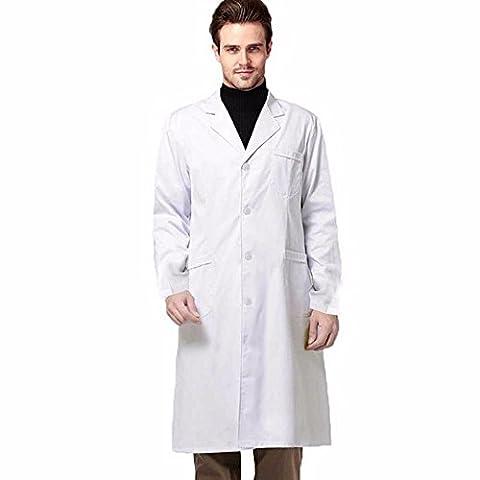 Rameng Unisexe Blouse Manteaux Blanche Chimie Laboratoire Medical Lyceen Etudiant