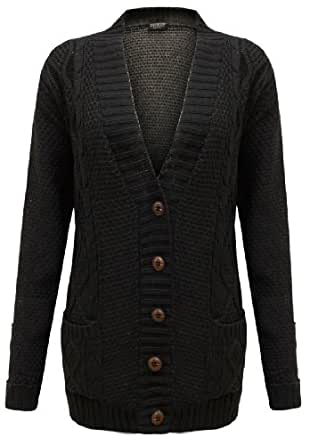 Cexi Couture - Gilet Femme Tricot Maille Bouton Style Grand-Père Cardigan Neuf - 36-42, Noir