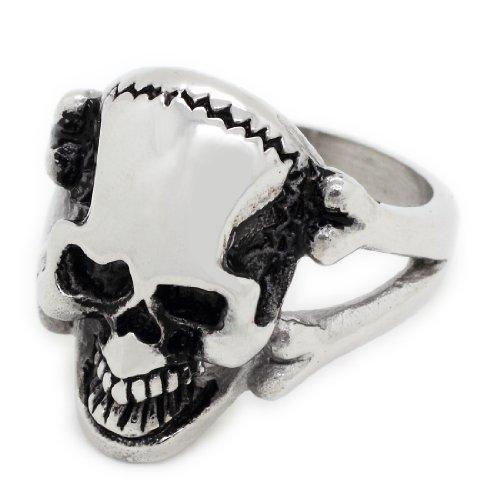 Skull Bones & Design Elegante anello in acciaio INOX, misura: 13 (garanzia, misura: 13
