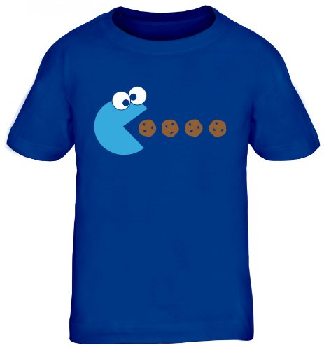 Shirtstreet24, BLUE MONSTER, Kids Kinder Fun T-Shirt Funshirt, Größe: 122/128,royal blau (Nerds Mädchen T-shirt)