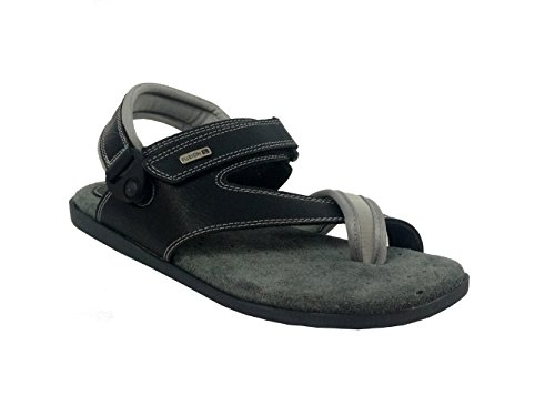 Fuzion Men's Black Sandal - 9 UK  available at amazon for Rs.498