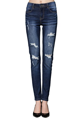 ZLZ Butt Lift Skinny Jeans, Women's Casual Destroyed Ripped Distressed Stretch Jeans Legging