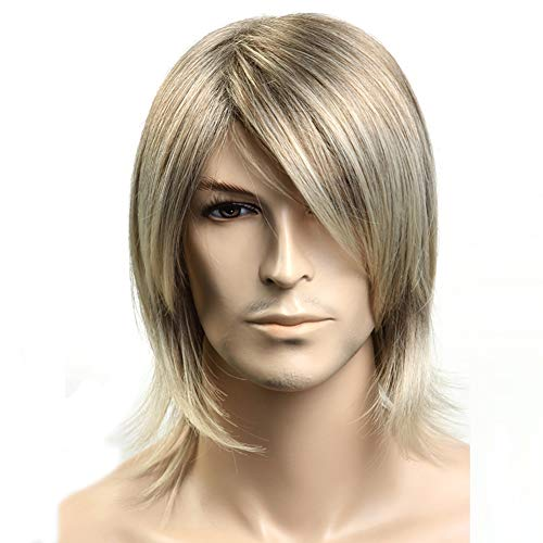 Herren Wig, Short Hair Cosplay Wig, Fluffy Natural,Gold