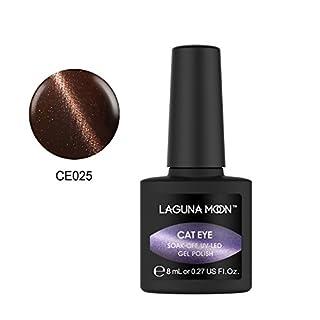 Lagunamoon Gel nail Polish 3D Cat Eye UV LED Nail Polish Magnetic Chameleon Gel Nail Art-Bison Brown