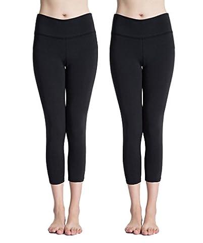 YR.Lover Damen 2er Pack Kompression Capri Legging Tight Pants (Compression Capri Tights)