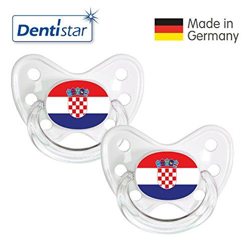 Preisvergleich Produktbild Dentistar® Silikon Schnuller 2er Set inkl. 2 Schutzkappen - Nuckel Größe 3, ab 14 Monate – Fahnen Fan Kollektion – Kroatien